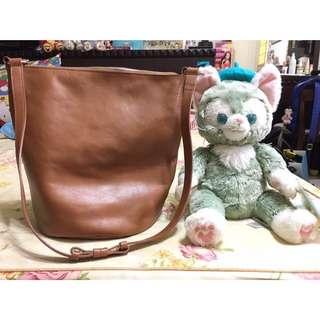 bucks & leather 牛皮水桶包 韓國購入 大容量 斜背包 肩背包