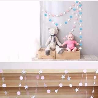Twinkle Star-N-Circles Glitter Garland/Bunting
