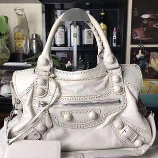 BALENCIAGA WHITE GIANT BROGUES COVERED CITY BAG