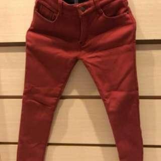 全新✨酒紅 刷毛 鉛筆褲 小腳褲 直筒褲 窄管褲 內搭褲 長褲 保暖 刷絨 鋪毛 鋪絨 修身 顯瘦