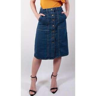 Buttown-down Knee-length (Midi) Denim Skirt