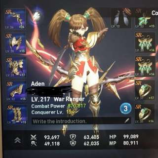 Aden level218 war ranger account for sale