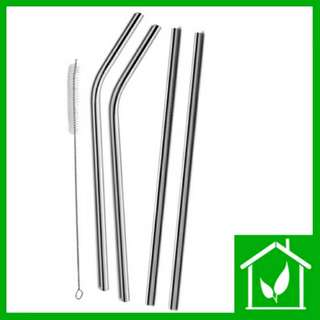 Brand New Eco Friendly Reusable Stainless Steel Metal Drinking Straw 6*215mm And 220mm Cleaning Brush