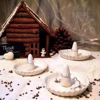 [U'NIDO] 原創手作 限量手捏陶小山飾品收納組-緞面白/ 療癒小物/ 飾品戒指座/ 暖心禮物/ 情人節/ 聖誕禮物