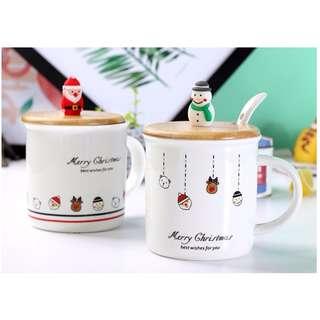 聖誕老人/雪人帶蓋陶瓷馬克杯