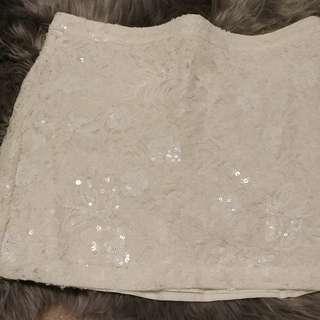 Hollister white sequin skirt XS