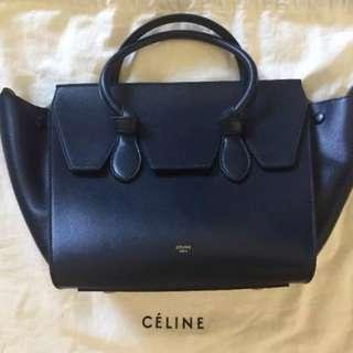 Authentic Celine Tie Tote Navy Blue Leather Bag