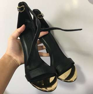 •• (Charlotte Russe) Black leather strap heels