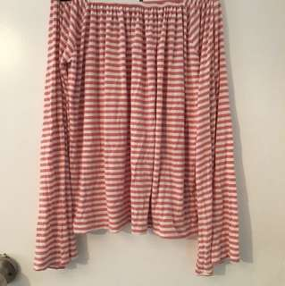 Pink and white cotton on off the shoulder top. Size s