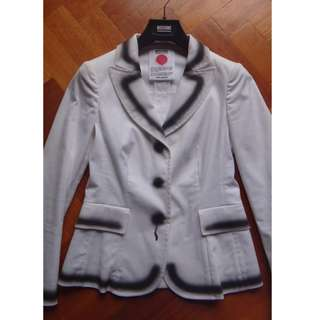 MOSCHINO CHEAP & CHIC DESIGNER WHITE & BLACK HAND PAINTED BLAZER JACKET ZARA GUCCI D&G