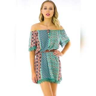 Off the Shoulder Green dress