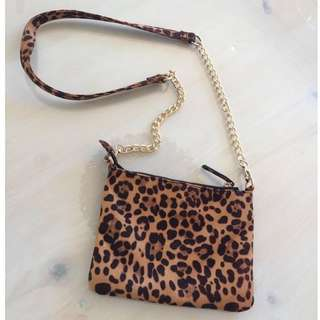 FAUX-SUEDE Leopard Print Shoulder Bag/Clutch