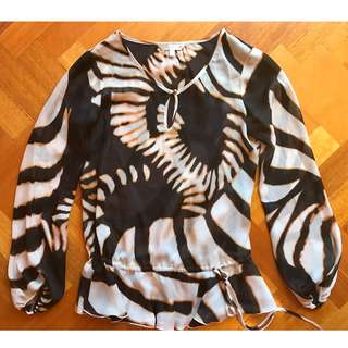 ROBERTO CAVALLI FOR TARGET LONG SLEEVE ANIMAL PRINT ZEBRA BEIGE WHITE BLACK KAFTAN BLOUSE TOP WORK BEACH ZARA D&G