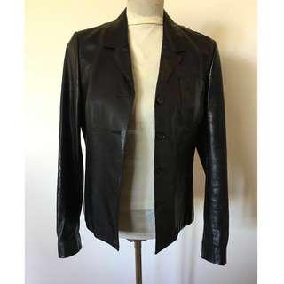 Scanlan & Theodore Leather Jacket Blazer Black Sz 10
