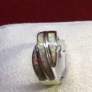 Pre-loved classic fire opal sterling silver sz 6 NR