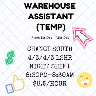 Temp Warehouse Assistant*15 (UP $3000++)
