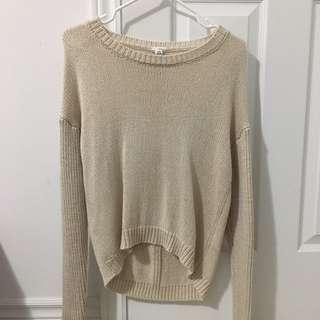 knit beige distressed sweater