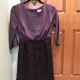 Elegant Purple lace dress size M but fits sz 8