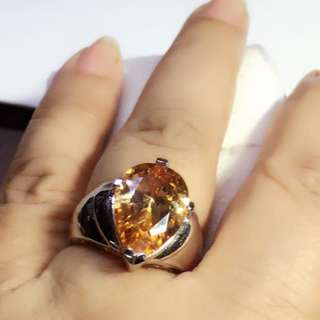 Pre-loved 18x14mm Orangish natural citrine sterling silver ring sz7 NR