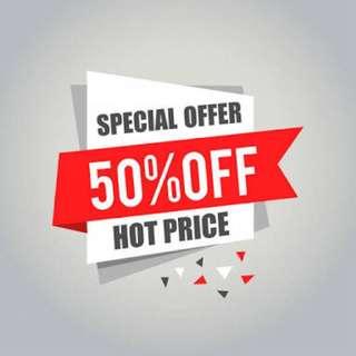 SALE 50% off all item fashions. valid until 31 DEC 2017. GRAB IT FAST