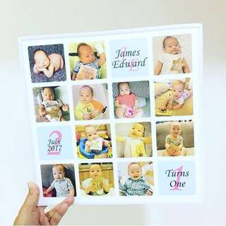 Baby 1 year old birthday first party poster custom