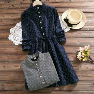 E286-8825 加絨文藝連衣裙(兩色入)