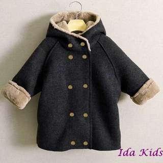 ♪Ida Kids♪韓版中小童加絨加厚風衣外套