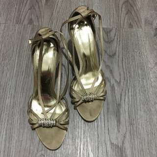 Gold Strappy Sandals Big Size 10