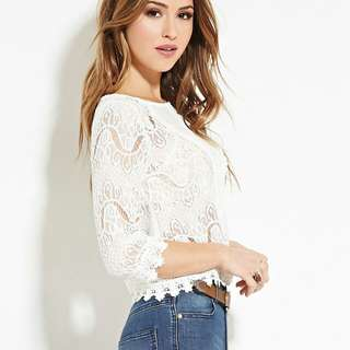 Forever21 Sheer Eyelash Lace Top