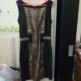 Dress Bunga Gold