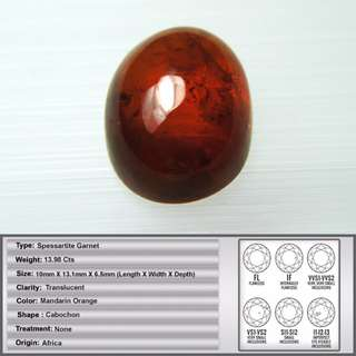13.98 CT Natural Deep Mandarin Orange Spessartite Garnet Cabochon