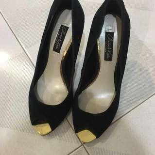 Charles & Keith gold black heels