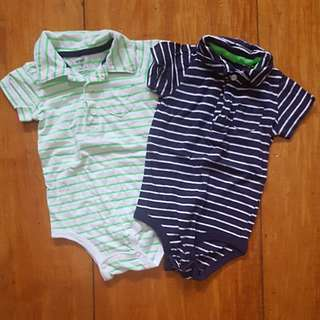 CARTERS COLLARED STRIPED ONESIES 9-12 MOS