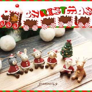🚚 🎄韓國聖誕仰望天空動物系列(限量搶購)(整組)聖誕節擺飾禮物🎄zakka療育系麋鹿小動物聖誕老人佈置擺設新年佈置