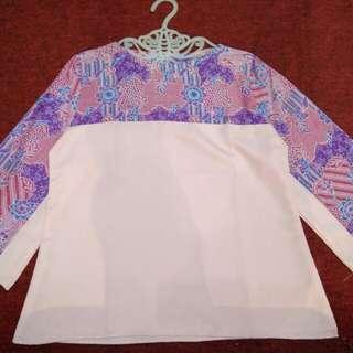 Blouse batik kombinasi pink