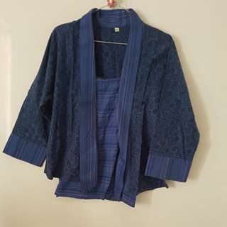 Outer dan inner batik blue