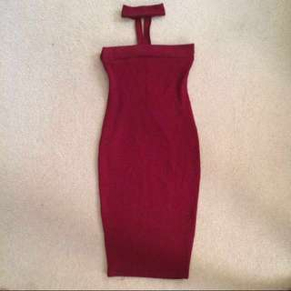 Strapless Low Back Chocker Dress Maroon Red - Size 6