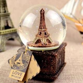 Eiffel tower music box snow globe vintage decor style