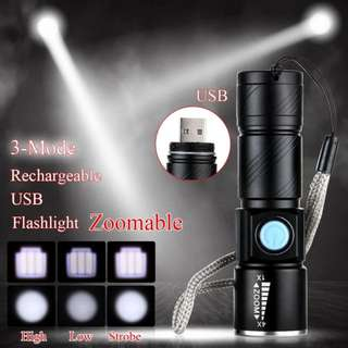 Torch Light Torchlight - LED 1000 Lm USB Rechargeable Brand New