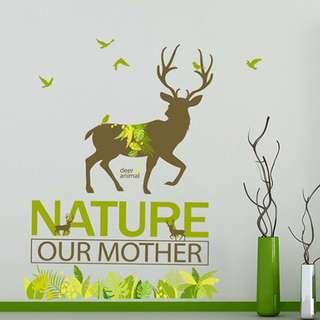 🚚 現貨 壁貼 居家裝飾  麋鹿 聖誕節 梅花小鹿 書房 壁紙 牆貼 JB0393《森林梅花鹿DLX1021》【居家城堡】