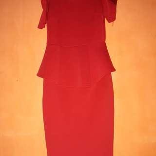 Red pelplum dress