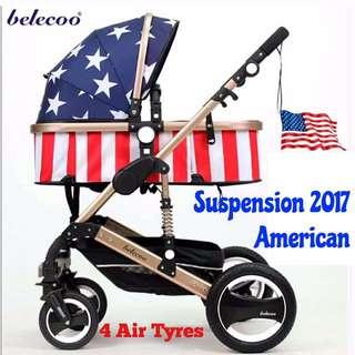 Belecoo American All Air German European Design Pram Stroller