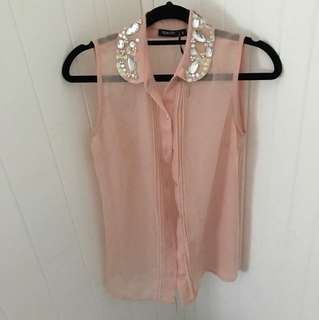 Chiffon pink TOKITO sleeveless button