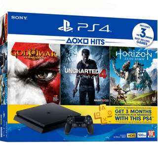 Brand New PS4 Slim 500GB Console 3 + Horizon Zero Dawn + Uncharted 4 + God of War III