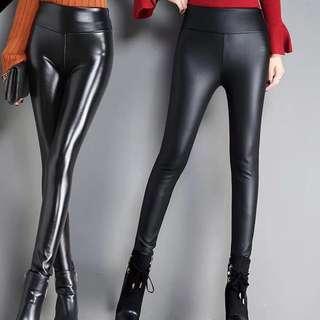 皮褲高腰 / 秋冬黑色顯瘦 / 磨砂亞光加長加絨加厚 / 打底褲外穿