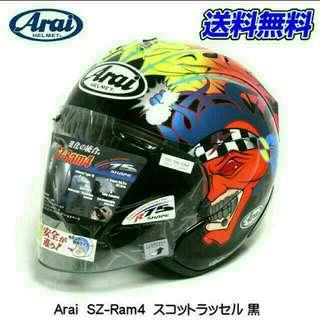 Size L SCOTT RUSSELL GLOSS BLACK Arai Ram4 R4 Design BNIB 59 - 60cm