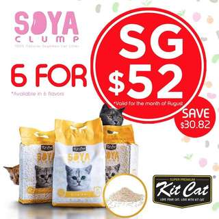 6 For $52.20! Kit Cat Soya Clump 7L