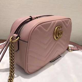 GG Leather Marmont Matelasse Shoulder Chain Bag Cream