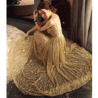 🚚 性感低胸吊帶長款禮服金色亮片顯瘦連衣裙晚宴聚會主持人晚禮服