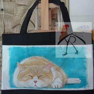 手繪袋 - 貓貓睡眠中
